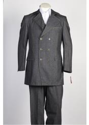 Grey Black Double Breasted Suit - 6 on 3 Buttons Unique