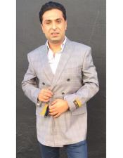 Nardoni Brand Mens Double Breasted Checked Pattern Grey blazer ~ sport coat jacket(Wholesale Price $75 (12pc&UPMinimum))