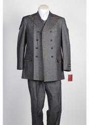 Grey Fashion Denim Cotton Jean Fabric Double Breasted Suit