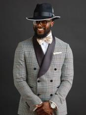 Grey Double Breasted Button Closure Shawl Collar Suit