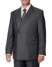 Mens Grey Double Breasted Classic Fit Button Closure Vested Suit