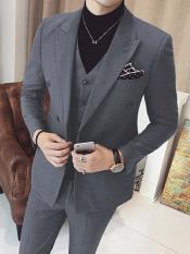 Mens Vested Double Breasted Suits 3 Piece Grey