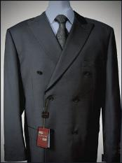 Grey Double breasted peak lapel wool felt front With Side Vent
