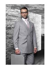 Confidence Grey Double Breasted Mens Wool Italian Design Suit