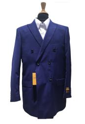 DB1B Authentic Mens Wool Pick Stitched Lapel Double Breasted indigo~Cobalt blue~Teal Blazer Sport Coat Jacket