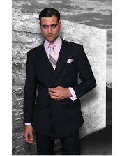Dark Navy Blue Double Breasted Wool Italian Design Suit