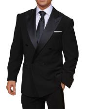 Double Breasted Dark Navy Blue Peak Lapel Button Closure Suit