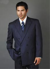 Double Breasted Dark Navy Blue Suit For Men with Smooth Stripe ~ Pinstripe Suit With Side Vent