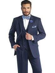 Shadow Striped Dark Navy 3 Piece Notch Lapel Double Breasted Vest Suit