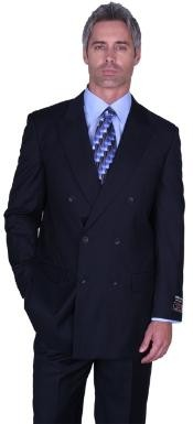 SOILD NAVY DOUBLE BREASTED SUPER 150S WOOL SUIT HAND MADE