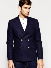 or Navy Blue Mens Double Breasted Suits Jacket Slim Fit 4 buttons Style Wool Fabric Blazer Sport