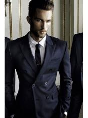 Black or Navy Blue Double Breasted Suits Slim Suit
