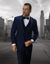One Button Shawl Lapel Dark Navy vested tuxedo Suit