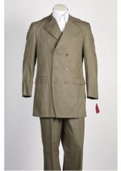 6 Button Double ~ Triple  Breasted Olive Denim Suit Wide