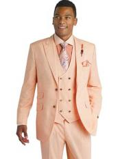 Mens Orange ~ Peach Color 3 Piece Peak Lapel Wool Blend