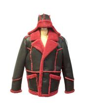 Red/Black Double Breasted Sheepskin