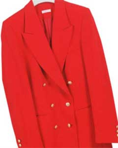 LAN532 Z762TA Red  Six Button Double Breasted Performance Blazer Jacket Coat