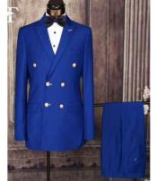 Peak Lapel Double Breasted Royal Blue Dress Suits for Men