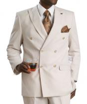 Mens Suit Double Breasted Suits Seersucker Sear sucker suit- Tan ~ Beige