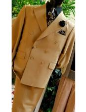 Classic Mens Double Breasted Suits Jacket Tan ~ Bronze ~ Camel  British Khaki Color Suit (Blazer