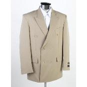 New Mens Double Breasted Suit Tan ~ Beige(Beige) Dress Suit