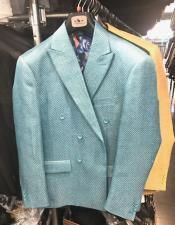 Mens Double Breasted Suits Jacket blazer sport coat jacket Turquoise