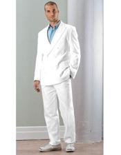 Linen Double Breasted Suit (Blazer / Jacket & Pants) White