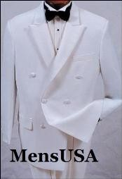 Mens High Quality white double breasted satin peak lapel formal Tuxedo Suit