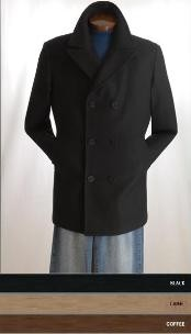 Pea Coat Wool Blend Double Breasted Broad Lapels Side Pocket in 3 Color