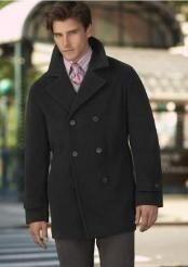 COAT08 Wool Blend,Broad lapel High-buttoned collars black Overcoat
