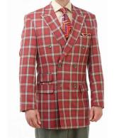 Mens 2 Piece Red/Green/Tan Plaid Double Breasted Wool Peak Lapel Suit