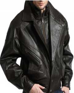 Classic Double-Collared Leather Big and Tall Bomber Jacket In A Premium Grade Lambskin Black
