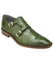 Mens Pistachio Genuine World Best Alligator ~ Gator Skin With Double Monk Strap Loafer Shoes