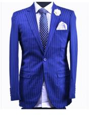 Cobalt New Blue 1 Button Stripe Dress Suits for Men