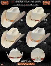 Tejana Durango Style Western Cowboy Straw Hats
