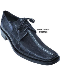 Stingray/Eel Skin Shoe Black