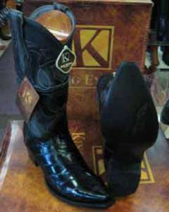 King Exotic Snip Toe Genuine Eel Skin Leather Piping Western Cowboy Dress