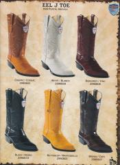West J-Toe Genuine Eel Mens Cowboy Western Boots Diff Colors/Sizes Black/Burgundy ~ Wine ~ Maroon Color/White/Cognac