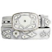 White Eel Skin Fashion Western Belt