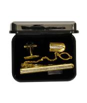 Mens Ferrecci Favor Cuff Links 3Pcs Set Gold With Fancy Gift