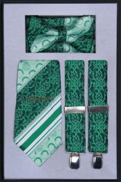 Mens Suspender Tie Bow Tie ~ Bowtie and Hanky Set Emerald