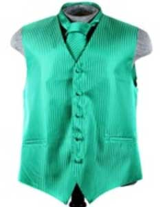 Tuxedo Wedding Vest ~ Waistcoat ~ Waist coat Tie Set Emerald Buy 10 of same color Tie