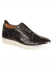Brand Emmanuel Black Genuine Crocodile Slip-on Shoes