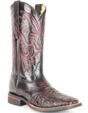 King Exotic Genuine Smooth Caiman Wide Square Toe Black Cherry Boots