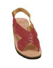 Mens Burgundy ~ Wine ~ Maroon Color Exotic Skin Sandals in ostrich or World Best Alligator ~