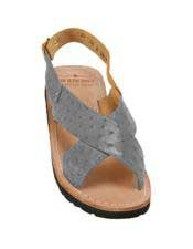 Mens Gray Exotic Skin Sandals in ostrich or World Best Alligator ~ Gator Skin or Stingray skin