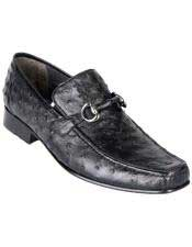Altos Mens Stylish Black Exotic Ostrich Slip-On Classic Dress Shoes