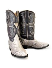 Natural Western Bota Exotic Piel Piton Dress Boots