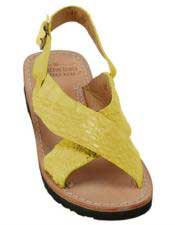 Mens Citron Yellow Exotic Skin Sandals in ostrich or World Best Alligator ~ Gator Skin or Stingray