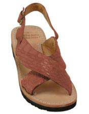 Mens Exotic Skin Cognac Sandals in ostrich or World Best Alligator ~ Gator Skin or Stingray skin